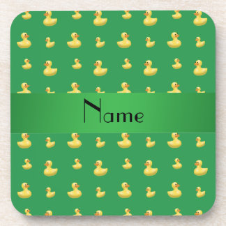 Personalized name green rubber duck pattern coasters