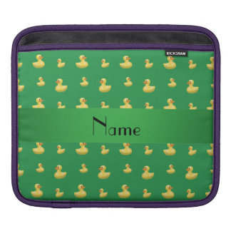 Personalized name green rubber duck pattern iPad sleeves