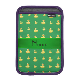 Personalized name green rubber duck pattern iPad mini sleeve