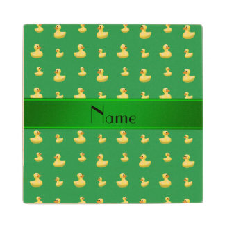 Personalized name green rubber duck pattern maple wood coaster