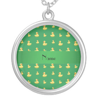 Personalized name green rubber duck pattern personalized necklace