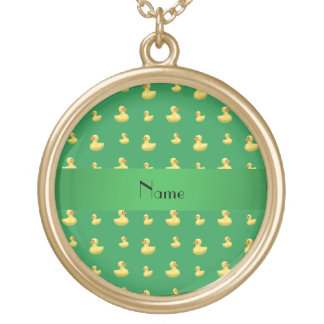 Personalized name green rubber duck pattern jewelry