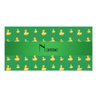 Personalized name green rubber duck pattern photo cards