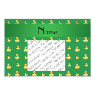 Personalized name green rubber duck pattern photograph