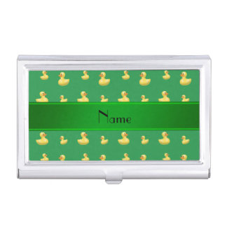 Personalized name green rubber duck pattern business card holder
