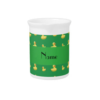 Personalized name green rubber duck pattern pitcher