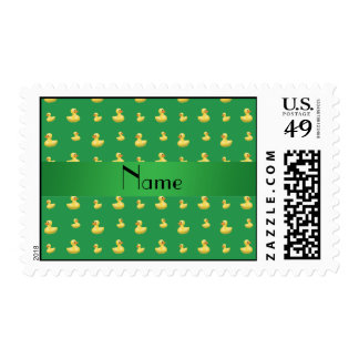 Personalized name green rubber duck pattern postage stamps