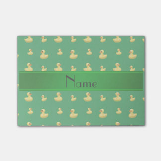 Personalized name green rubber duck pattern post-it® notes