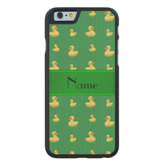 Personalized name green rubber duck pattern carved® maple iPhone 6 slim case