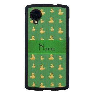 Personalized name green rubber duck pattern carved® maple nexus 5 slim case
