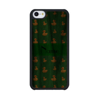 Personalized name green rubber duck pattern carved® walnut iPhone 5C slim case
