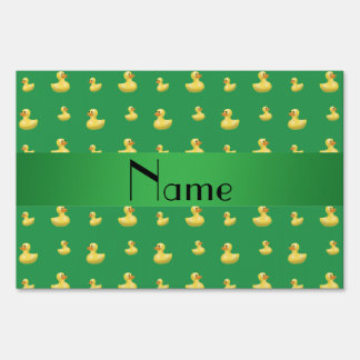 Personalized name green rubber duck pattern yard signs