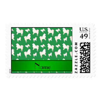 Personalized name green Samoyed dogs Stamps