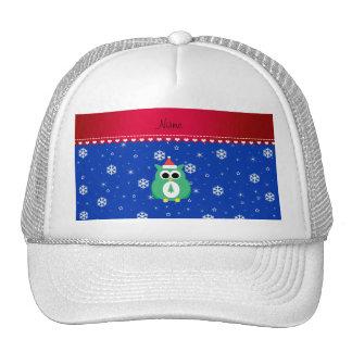 Personalized name green santa owl blue snowflakes mesh hats