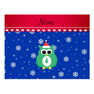Personalized name green santa owl blue snowflakes postcards