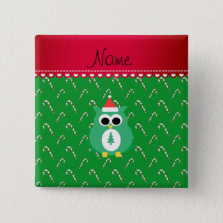 Personalized name green santa owl green candy cane button