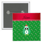 Personalized name green santa owl green candy cane 2 inch square button