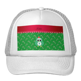 Personalized name green santa owl green candy cane trucker hats