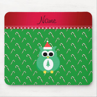 Personalized name green santa owl green candy cane mouse pad