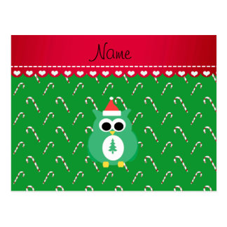 Personalized name green santa owl green candy cane post card