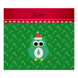 Personalized name green santa owl green candy cane poster