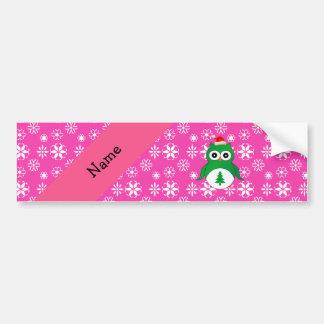 Personalized name green santa owl pink snowflakes bumper sticker