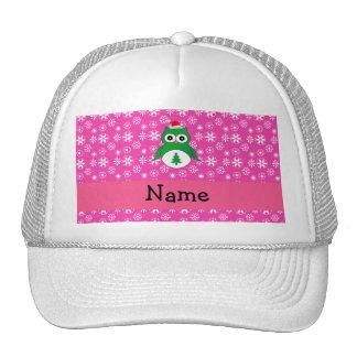 Personalized name green santa owl pink snowflakes hat