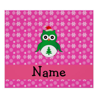 Personalized name green santa owl pink snowflakes posters