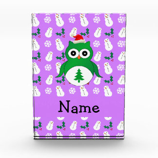 Personalized name green santa owl purple snowmen acrylic award