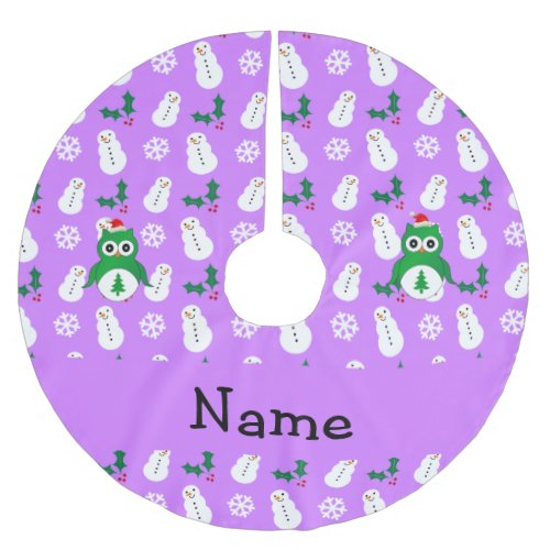 Personalized name green santa owl purple snowmen brushed polyester tree skirt
