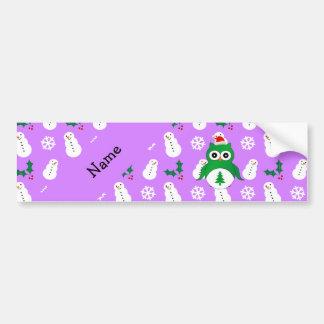 Personalized name green santa owl purple snowmen bumper stickers