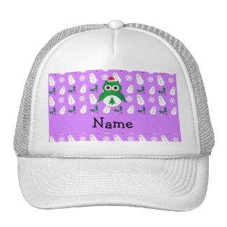 Personalized name green santa owl purple snowmen hat