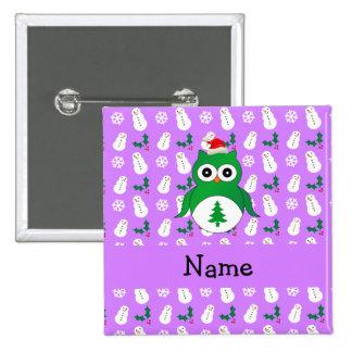 Personalized name green santa owl purple snowmen pinback button