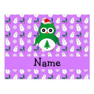 Personalized name green santa owl purple snowmen postcard