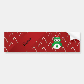 Personalized name green santa owl red candy canes bumper sticker