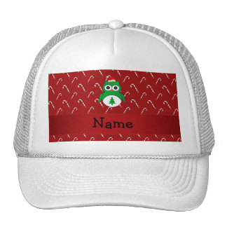 Personalized name green santa owl red candy canes trucker hat