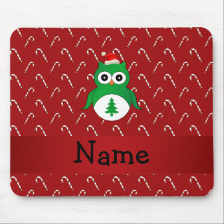 Personalized name green santa owl red candy canes mouse pad