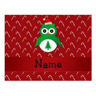Personalized name green santa owl red candy canes post card