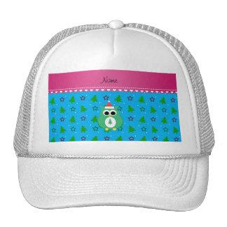 Personalized name green santa owl sky blue trees trucker hat