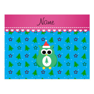 Personalized name green santa owl sky blue trees post cards
