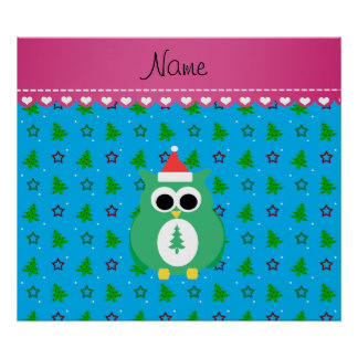 Personalized name green santa owl sky blue trees posters