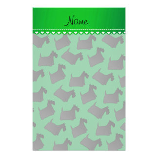 Personalized name green scottish terrier dogs stationery