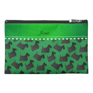 Personalized name green scottish terrier dogs travel accessories bags