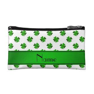 Personalized name green shamrocks green stripe makeup bags