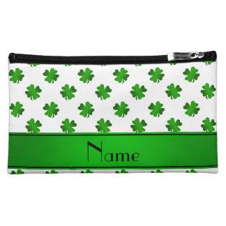 Personalized name green shamrocks green stripe cosmetic bags