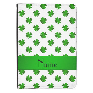 Personalized name green shamrocks green stripe kindle 4 case