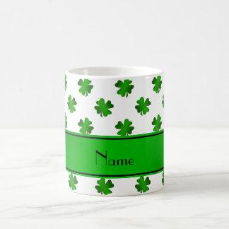 Personalized name green shamrocks green stripe coffee mug