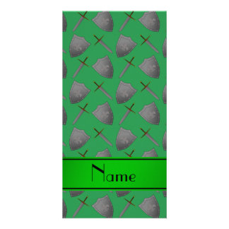 Personalized name green shields and swords customized photo card