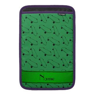 Personalized name green skateboard pattern MacBook sleeves