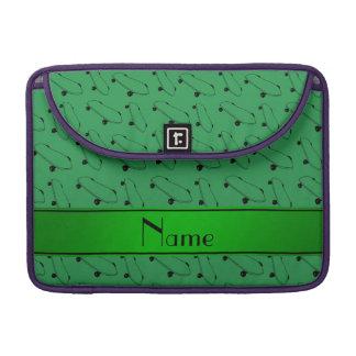 Personalized name green skateboard pattern MacBook pro sleeves